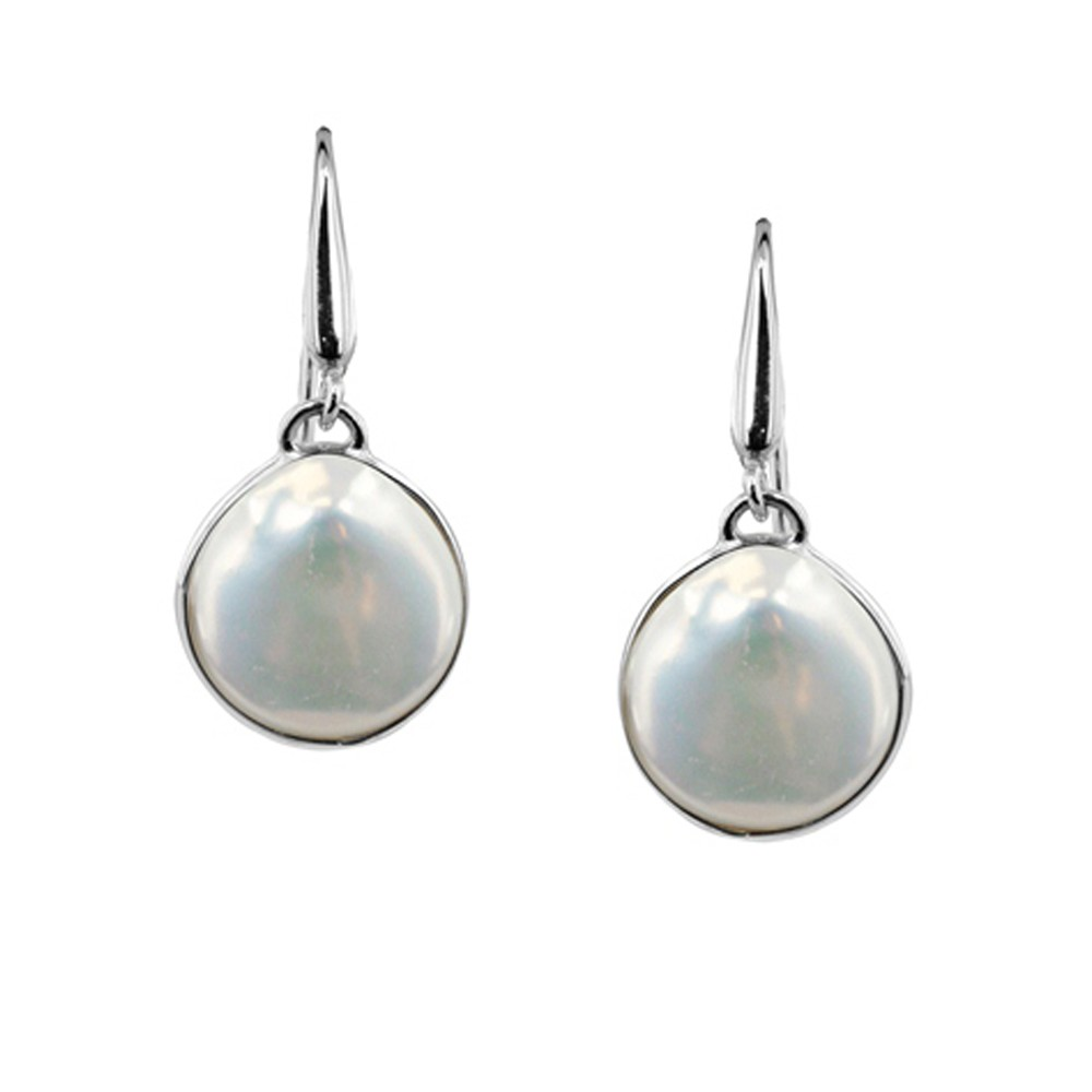 Sterling Silver 15-16mm White Baroque Coin Freshwater Cultured Pearl Dangle Earrings
