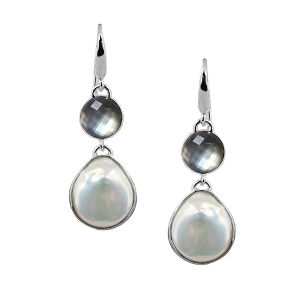 Sterling Silver 15-16mm White Baroque Coin Freshwater Cultured Pearl with Black Mother of Pearl Dangle Earring