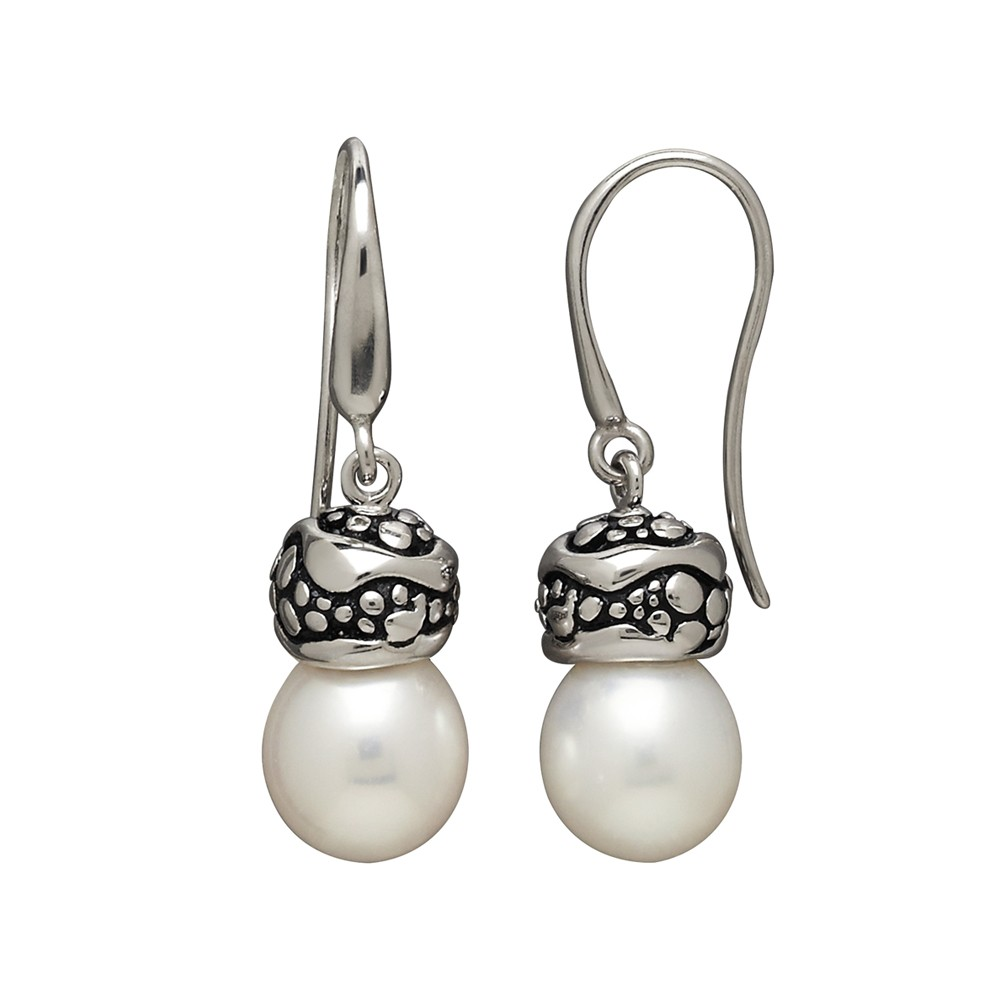 Sterling Silver 11-12MM Wht Oval FWCP Stingray Earrings