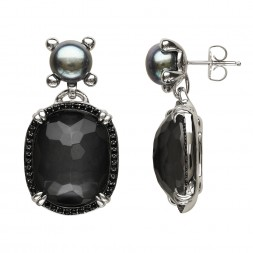 Sterling Silver Crystal and Hematite with Black Spinel and 8.5-9mm Black Button FWCP Earrings