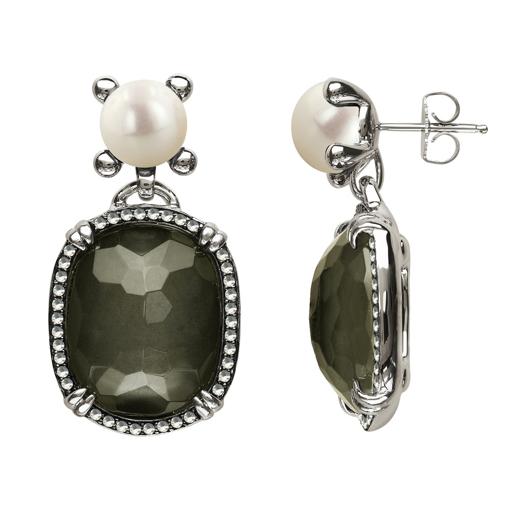 Sterling Silver Pyrite Doublet, Wht Topaz and Button FWCP earrings