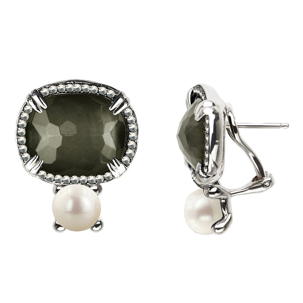 Sterling Silver Pyrite Doublet, Wht Topaz and Button FWCP Clipback Earrings