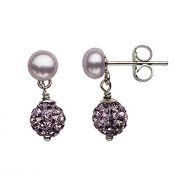 Sterling Silver Lilac 5-6MM Button FWCP and Crystal Earring