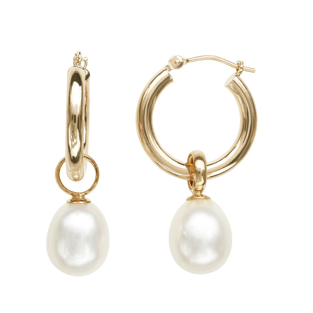 14K YG 8-9MM Wht Oval FWCP Hoop Earrings