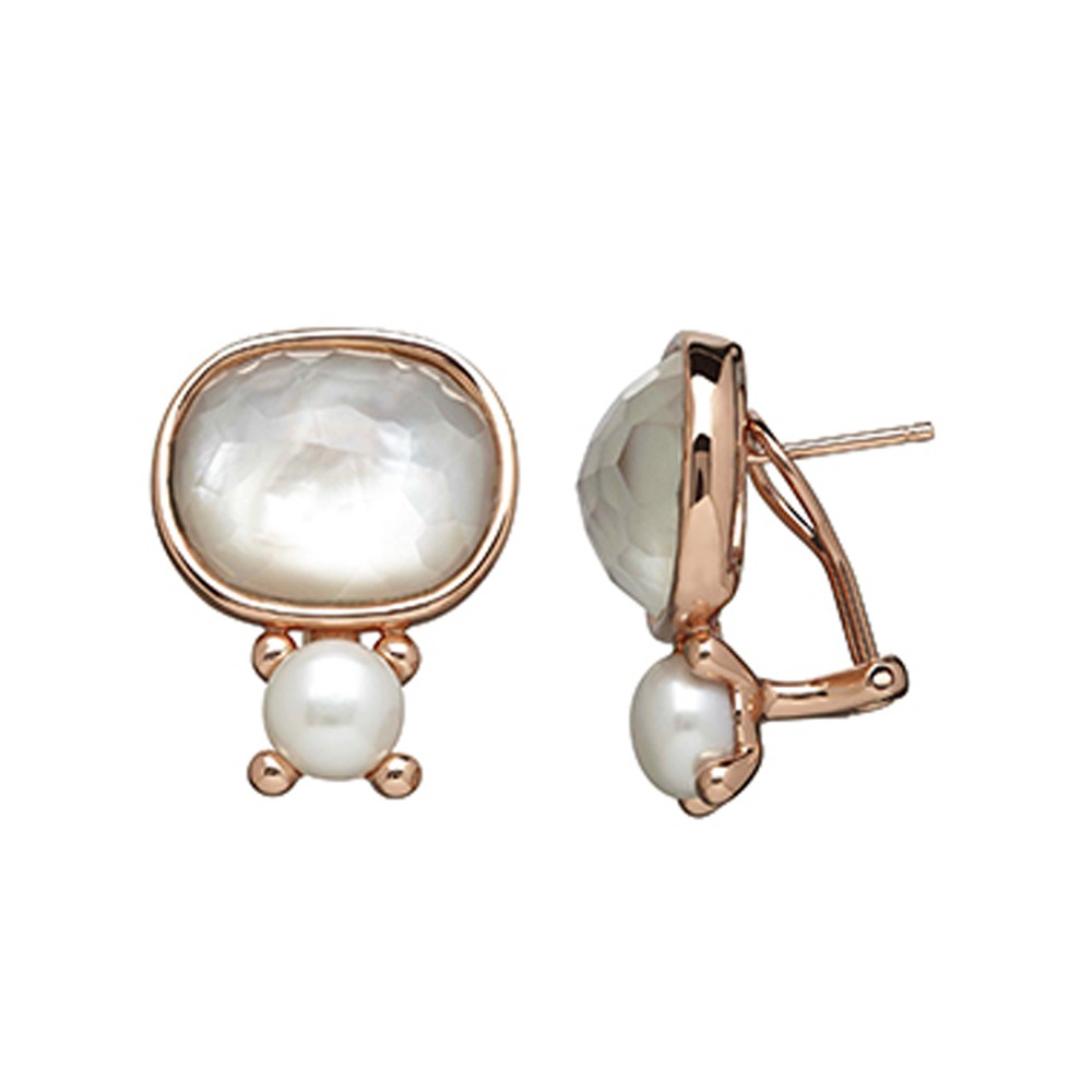 6b7186089 Bronze 7-7.5MM Button Freshwater Cultured Pearl White Mother of Pearl  Doublet Earrings