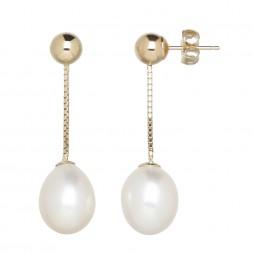 14kyg 8-9mm Oval Freshwater Cultured Pearl Dangle Earrings