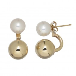 14kyg 7.5-8mm Round Freshwater Cultured Pearl Front Back Earrings