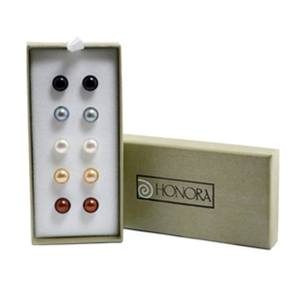 Set of 5 Sterling Silver 8-9mm Chocolate, Mocha, White, Grey, Jet Freshwater Cultured Pearl Stud Earring Box Set