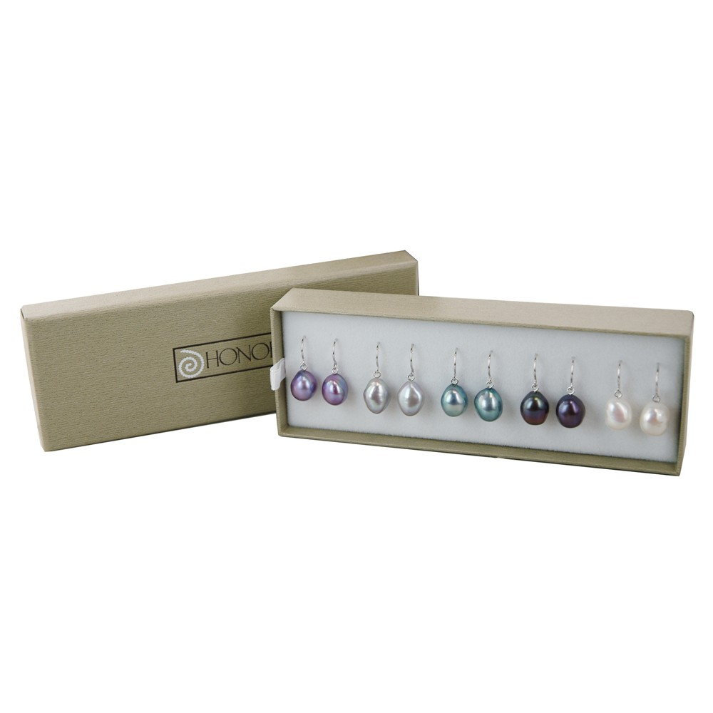Sterling Silver Set of 5 9-10MM Dark Multi Color Baroque Freshwater Cultured Pearl Dangle Earrings