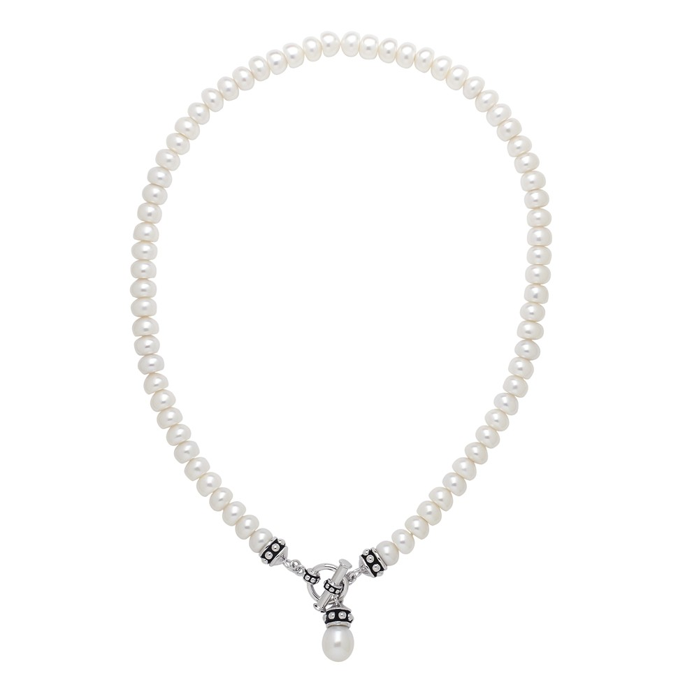 Sterling Silver 7.5-8MM White Freshwater Cultured Pearl 17