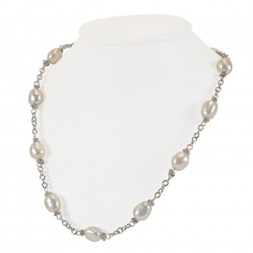 Sterling Silver 9-10MM White Baroque Freshwater Cultured Pearl 18