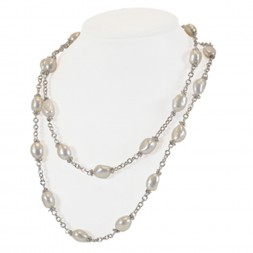 Sterling Silver 9-10MM White Baroque Freshwater Cultured Pearl 36