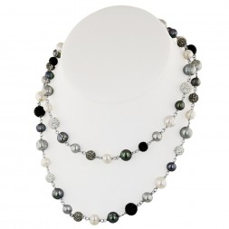 Sterling Silver 7-10mm Round Ringed Black, White, and Grey Fresh Water Cultured Pearl and Pave Crystal Bead Necklace, 36