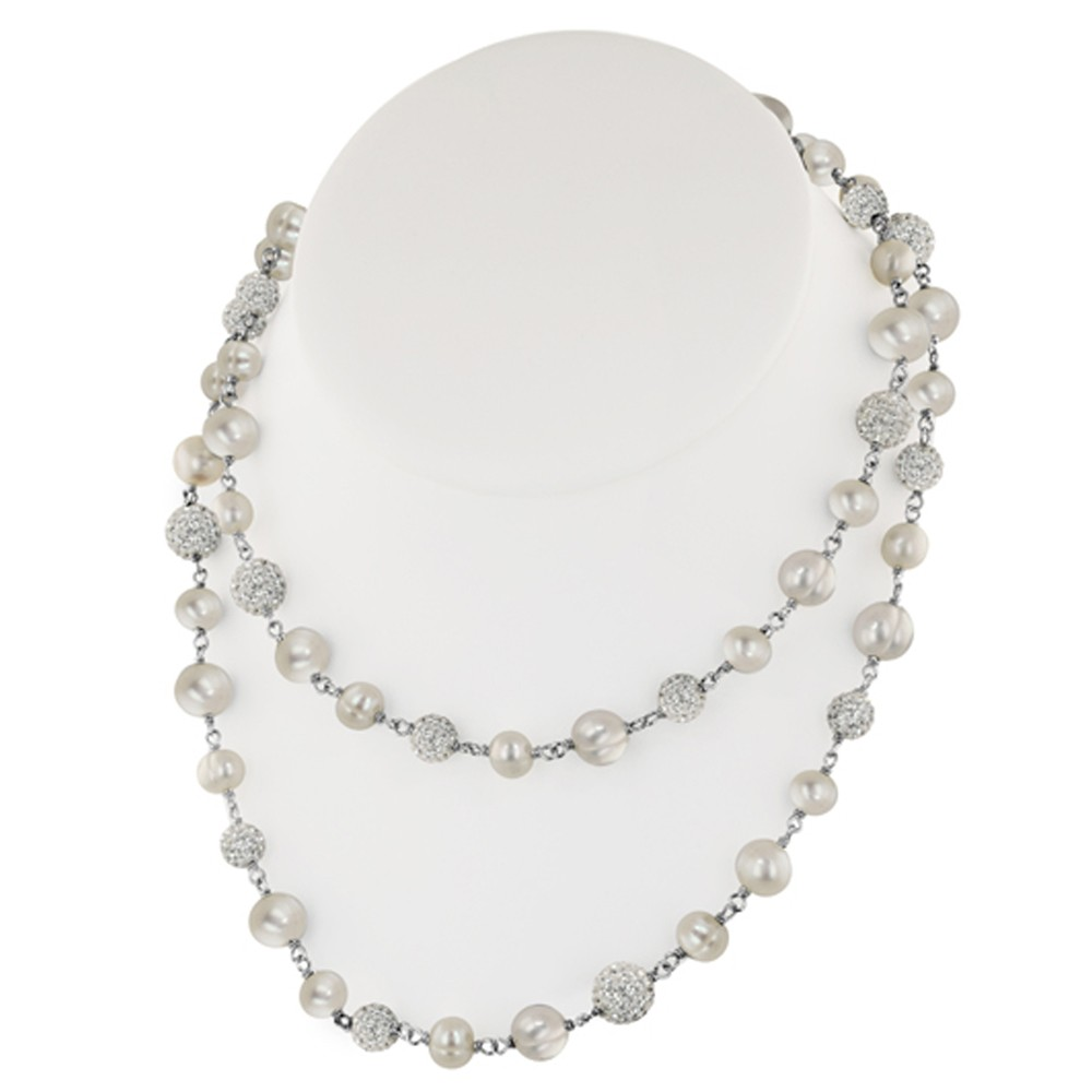 Sterling Silver 7-10mm Round Ringed White Fresh Water Cultured Pearl and Pave Crystal Bead Necklace, 36