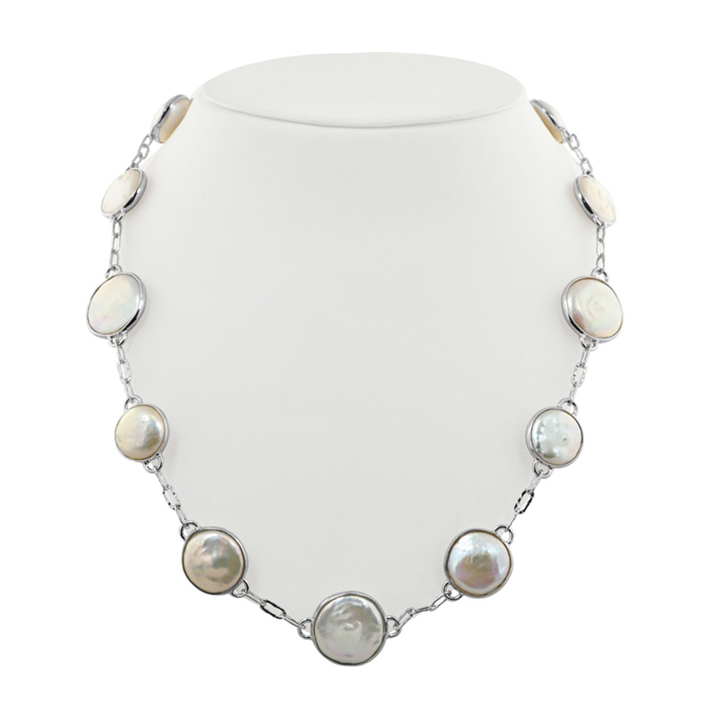 Sterling Silver 12-16mm White Baroque Coin Freshwater Cultured Pearl 18