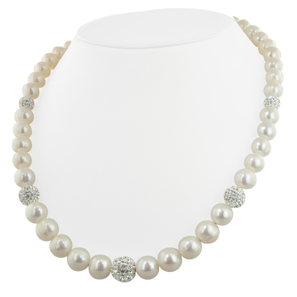 Sterling Silver 8-12mm White Ringed Freshwater Cultured Pearl with Pave Crystal Beads 18