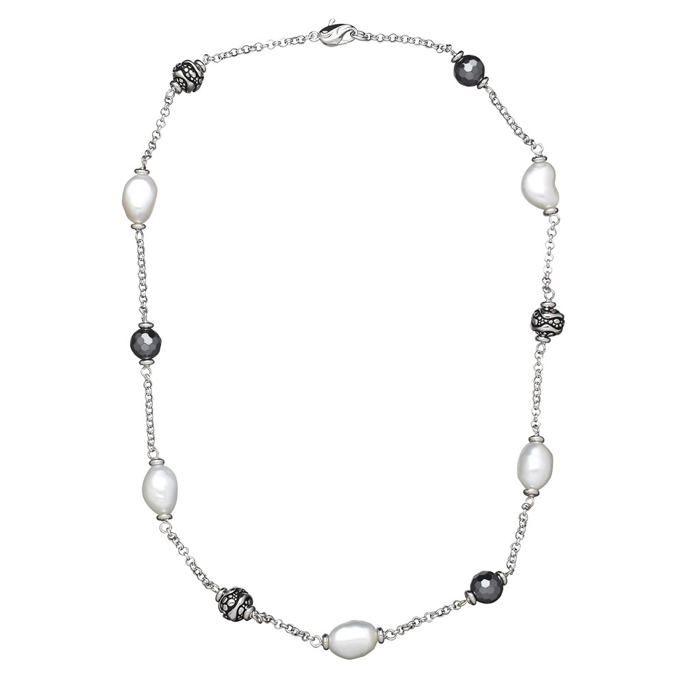 Sterling Silver 8.5-9MM Wht Oval FWCP and Faceted Hematite Bead NK 18