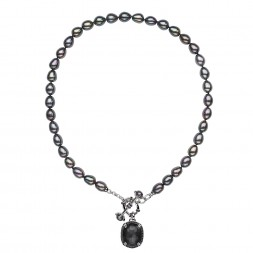 Sterling Silver Crystal and Hematite Doublet witht Black Spinel and 8.5-9mm Black Oval FWCP Toggle Necklace, 18