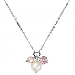 Sterling Silver Wht/Rose 4.5-9MM Potato FWCP and Crystal NK 14