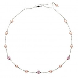 Sterling Silver Pink 4.5-5.5MM Potato FWCP and Crystal NK 14