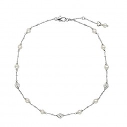 Sterling Silver White 4.5-5.5MM Potato FWCP and Crystal NK 14
