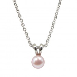 Sterling Silver 5.5+mm Blush Freshwater Cultured Pearl Pendant on 14