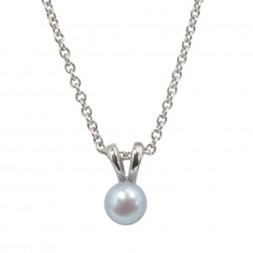 Sterling Silver 5.5+mm Light Blue Freshwater Cultured Pearl Pendant on 14