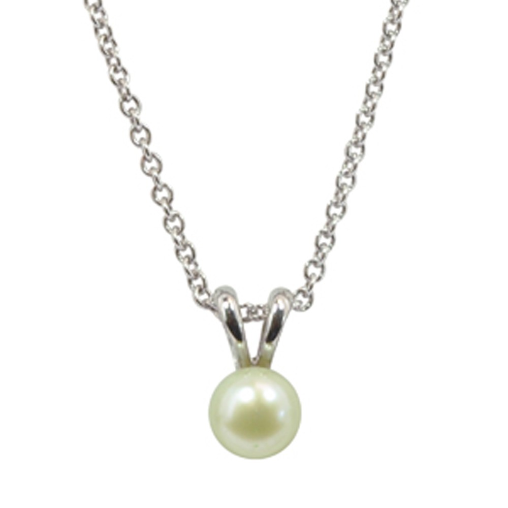 Sterling Silver 5.5+mm Light Green Freshwater Cultured Pearl Pendant on 14