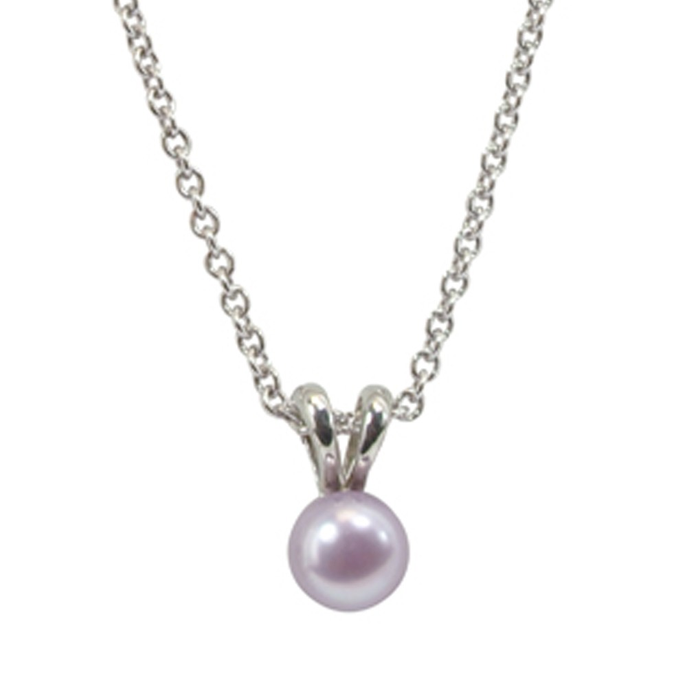 Sterling Silver 5.5+mm Light Purple Freshwater Cultured Pearl Pendant on 14