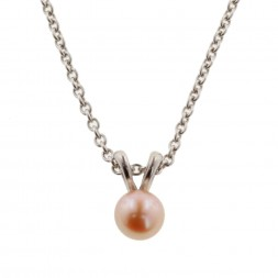 Sterling Silver 5.5+mm Peach Freshwater Cultured Pearl Pendant on 14
