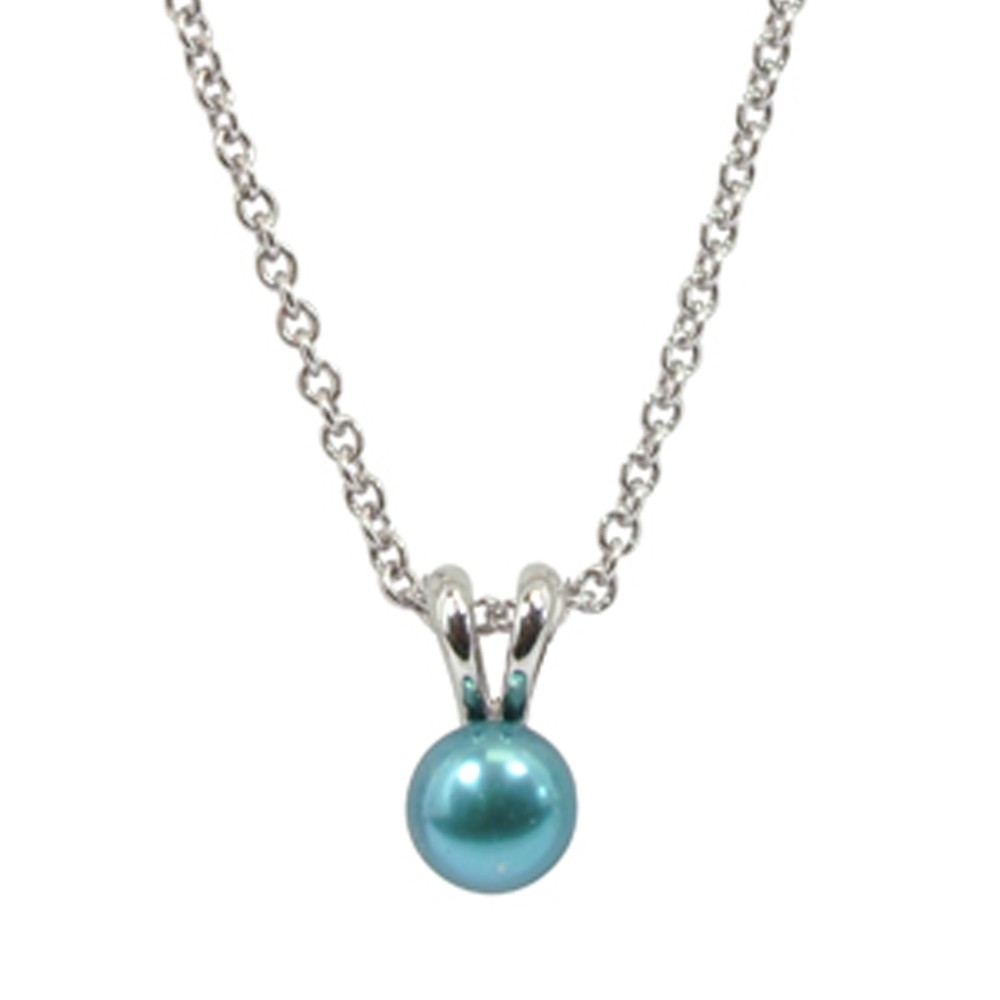 Sterling Silver 5.5+mm Teal Freshwater Cultured Pearl Pendant on 14
