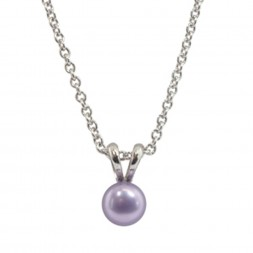 Sterling Silver 5.5+mm Violet Freshwater Cultured Pearl Pendant on 14
