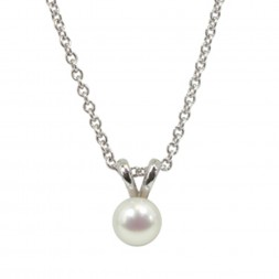 Sterling Silver 5.5+mm White Freshwater Cultured Pearl Pendant on 14