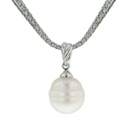 Sterling Silver 13-14 White Ringed Freshwater Cultured Pearl 18
