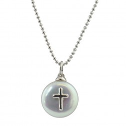 Sterling Silver 13-14MM White Coin Freshwater Pearl with Cross Pendant on 14