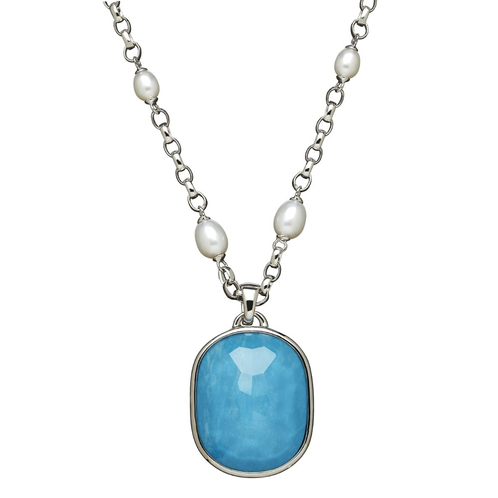 Sterling Silver 6-8mm Oval Freshwater Cultured Pearl Turquoise Doublet Enhancer on 36