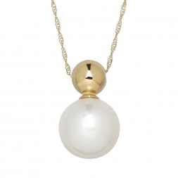14kyg 10.5-11mm Round Freshwater Cultured Pearl Pendant on 18
