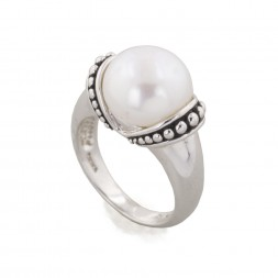 Sterling Silver 11.5-12MM White Freshwater Cultured Pearl Pallini Ring