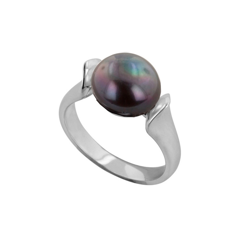 Sterling Silver 10-10.5MM Black Freshwater Cultured Pearl Ring