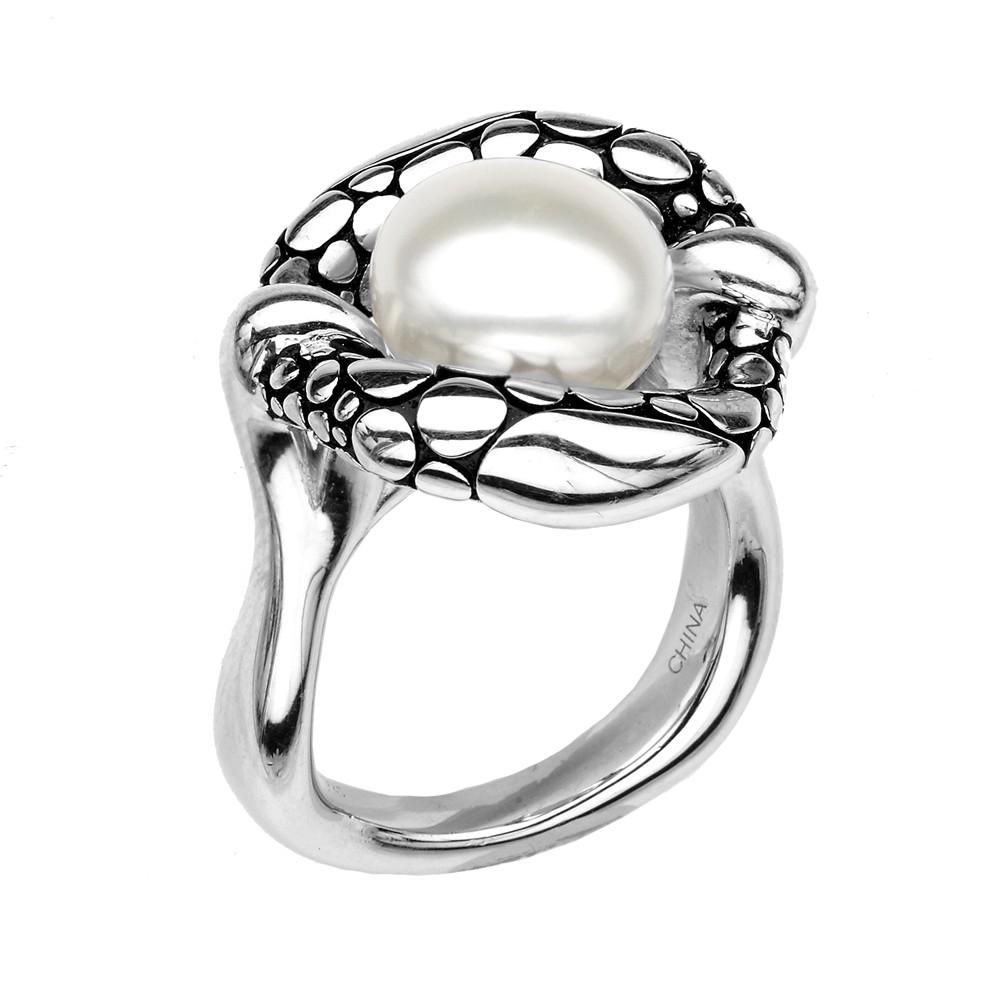 Sterling Silver10.5-11MM Wht Button FWCP Stingray Ring SZ7