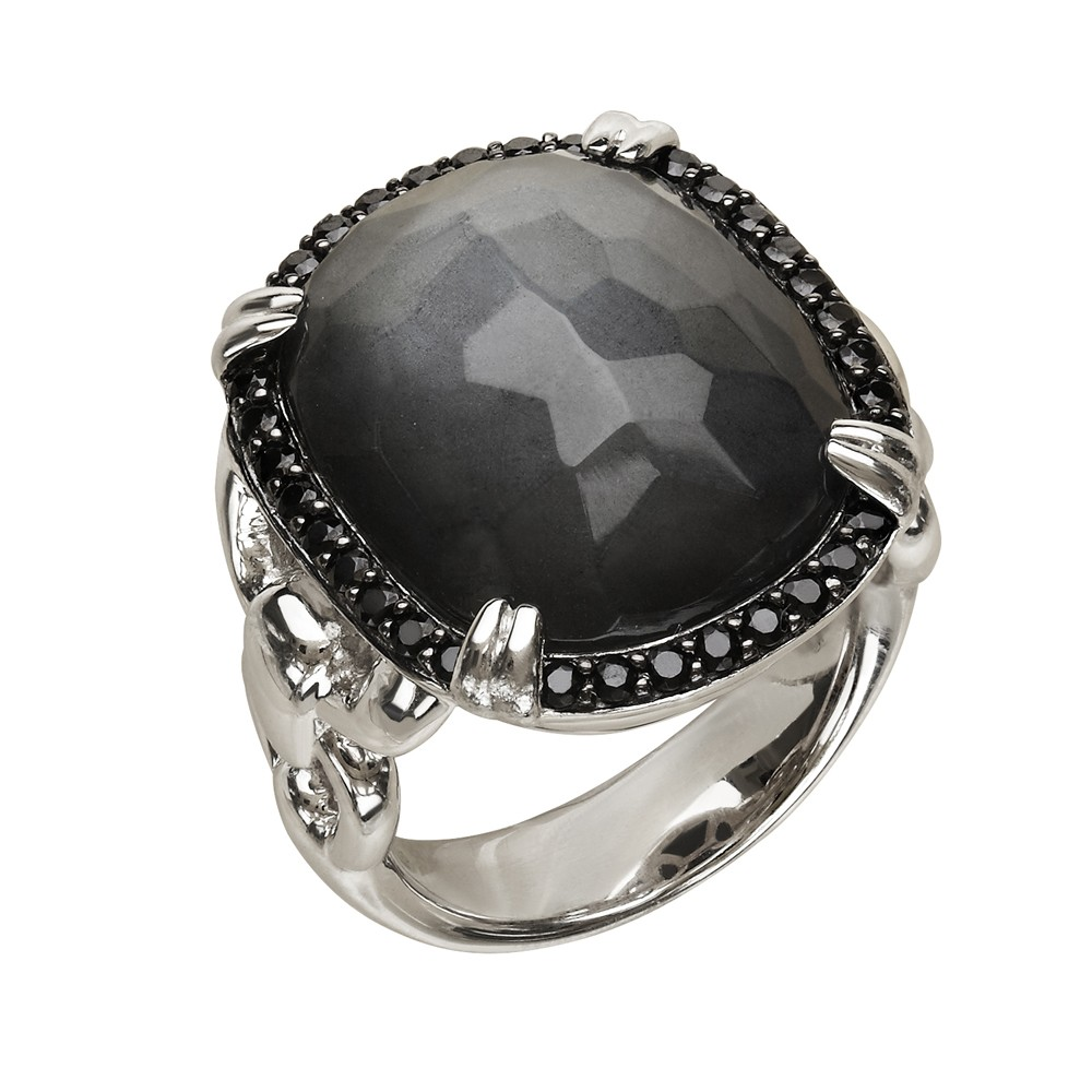 Sterling Silver Crystal and Hematite Doublet with Black Spinel Ring
