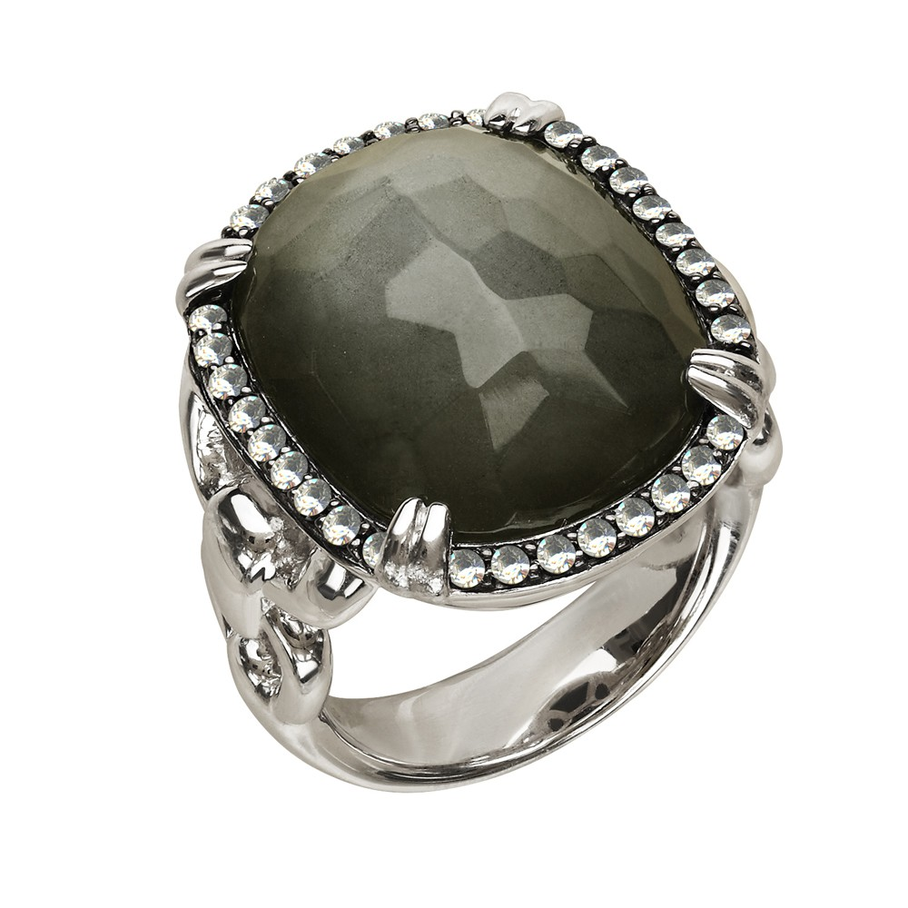 Sterling Silver Pyrite Doublet with Wht Topaz Ring SZ 7