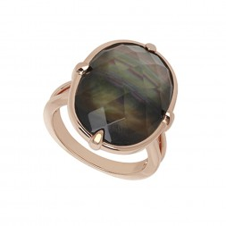 Bronze Black Mother of Pearl Doublet Ring