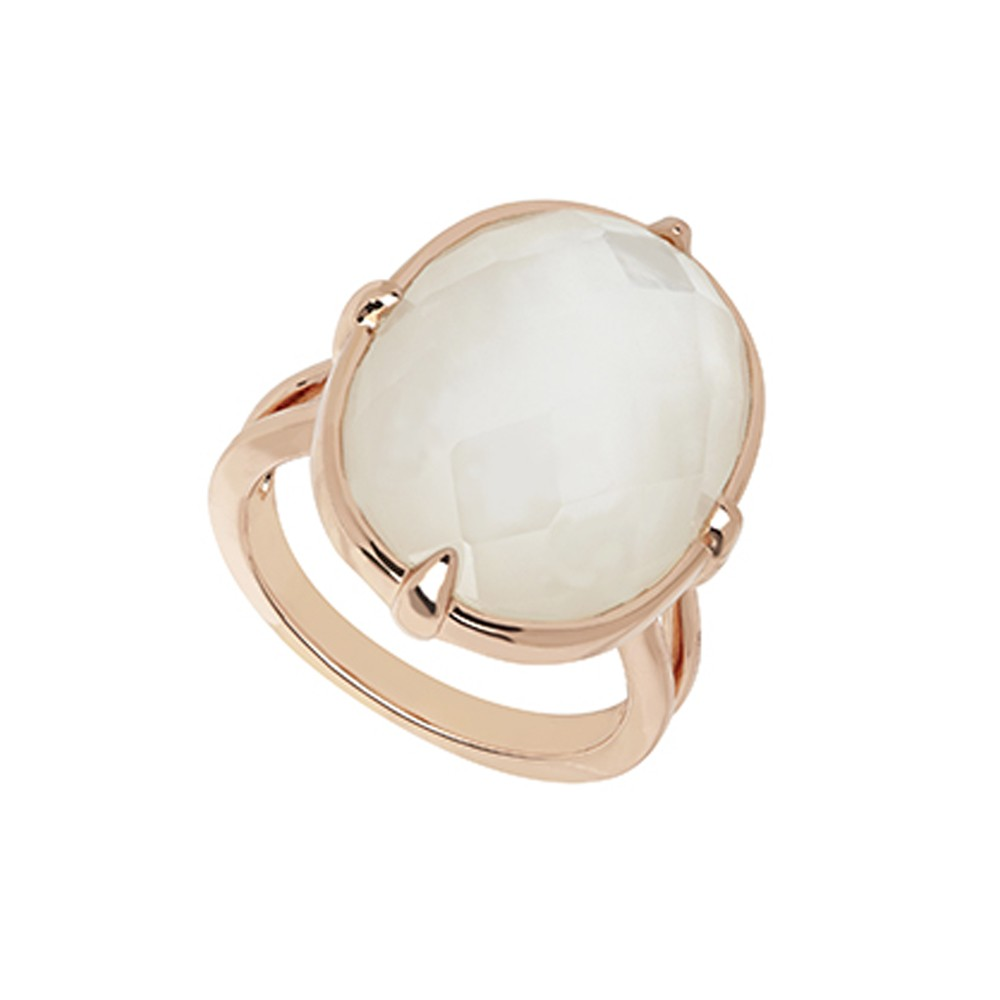 Bronze White Mother of Pearl Doublet Ring