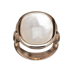 Bronze White Mother of Pearl Double Ring
