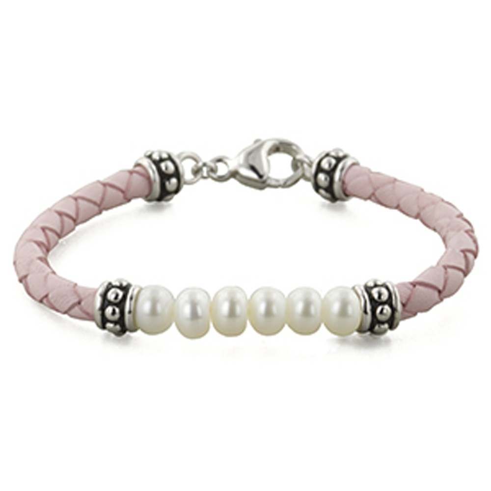Sterling Silver 5.5-6MM White Freshwater Cultured Pearl and Pink Leather 6