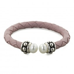 Sterling Silver 7-7.5MM White Freshwater Cultured Pearl and Pink Leather 6