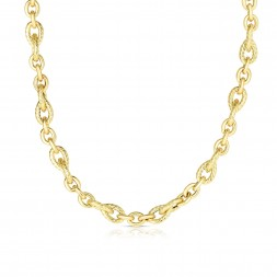 14K Gold Italian Cable Teardrop And Oval Link Necklace