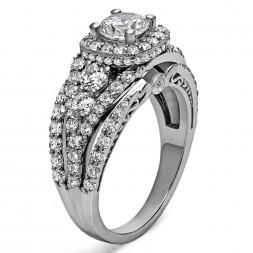 Round Diamond Infinity/Halo Semi Mount Engagement Ring