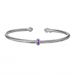 Silver Italian Cable Stackable Bangle With Amethyst